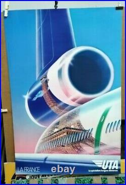 Affiche Ancienne La France Uta Avion Aviation Creation Publicis