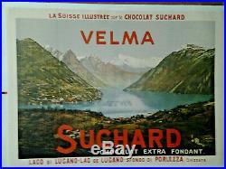Affiche Ancienne Lac De Lugano Chocolat Suchard Suisse Switzerland Schweiz