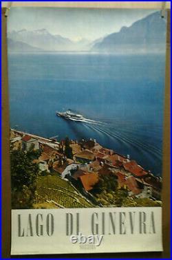 Affiche Ancienne Lago DI Ginevra Suisse Schweiz Switzerland Svizzera