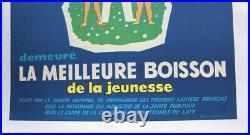 Affiche Ancienne Lait Vache 1960 Produit Laitier Fromage Cocarde Drapeaux E. U