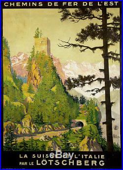 Affiche Ancienne Le LÖTSCHBERG Geo Dorival 1930 Entoilée