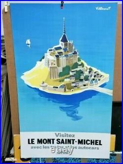 Affiche Ancienne Le Mont Saint Michel Manche Villemot Chemin De Fer Sncf 1968