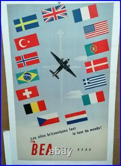 Affiche Ancienne Les Ailes Britanniques Font Le Tour Du Monde Bea Boac Aviation