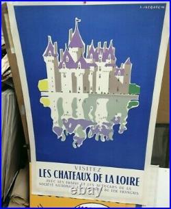 Affiche Ancienne Les Chateaux De La Loire J Jacquelin Sncf 1956