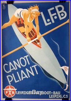 Affiche Ancienne Lfb Canot 1930 Sport Art-déco Navigation Bateau Maillot Bain