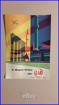 Affiche Ancienne Lignes Aeriennes Libanaises Lia Deco Rare