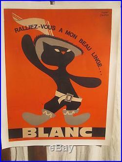 Affiche Ancienne Linge Chat Botte Mignon