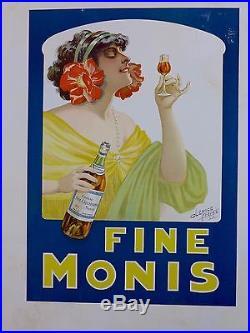 Affiche Ancienne Lithographique 1911Cognac FINE MONIS par Clerice entoile BE