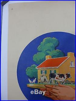 Affiche Ancienne Lithographique LOTERIE NATIONALE par R VINCENT entoilée TBE