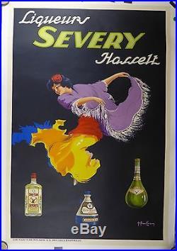 Affiche Ancienne Lithographique Liqueur SEVERY par Berckmann entoile TBE