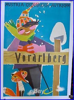 Affiche Ancienne Lithographique SKI en AUTRICHE a VORARLBERG par HOFL