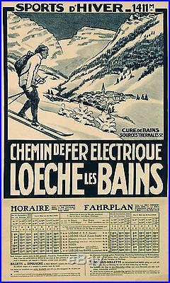 Affiche Ancienne Loeche Les Bains Chemin De Fer Electrique Sports D'hiver 1922