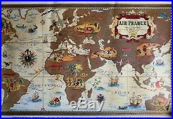 Affiche Ancienne Lucien BOUCHET RÉÉDITION Originale Planisphère AIR FRANCE 1997