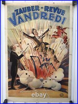 Affiche Ancienne Magie Cirque Zauber Magician Circus Vintage Poster Friedlander