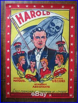 Affiche Ancienne Magie Magicien Prestidigitateur Harold La Plus Belle Attraction