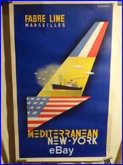 Affiche Ancienne Mediterrannee New York Navigation Marseille
