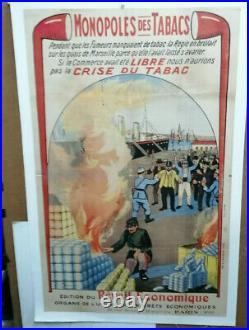 Affiche Ancienne Monopole Des Tabacs Port De Marseille P Carrere