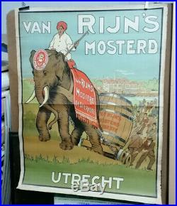 Affiche Ancienne Moutarde Van Rijn's Mosterd Utrecht Pays Bas Hollande Elephant