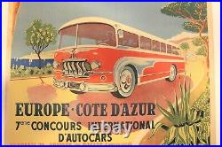 Affiche Ancienne Nice Cote D'azur Rallye Concours Car Bus Autocar Autobus 1954