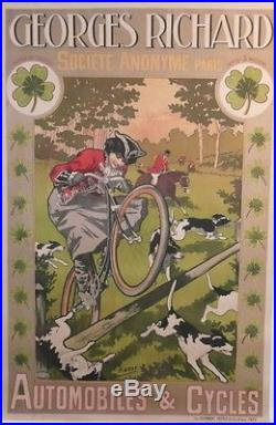 Affiche Ancienne Old Poster Cycles Autos Georges Richard Ivry Chasse A Courre