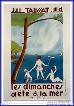 Affiche Ancienne Old Poster Taussat Bassin Arcachon Cap Ferret Pin Enfants