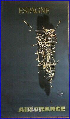 Affiche Ancienne Originale AIR FRANCE ESPAGNE par Georges MATHIEU 1960/70