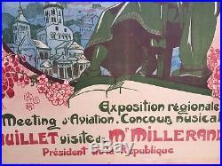Affiche Ancienne Originale Auvergne Busset 1923 Chemin De Fer Aviation