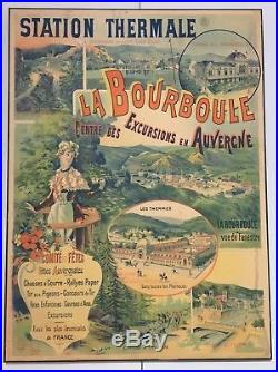Affiche Ancienne Originale Auvergne La Bourboule 1894 Signee Brun