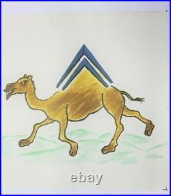 Affiche Ancienne Originale Bandeau Frise Citroen Savignac Chameaux Chevron