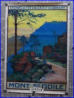 Affiche Ancienne Originale Chemin Fer Alsace Lorraine Mont St Odile Sig L Blumer
