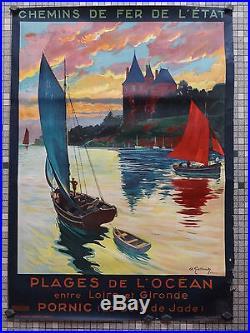 Affiche Ancienne Originale Chemin Fer De l'Etat PLAGES PORNIC Sig A Galland 1929