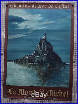 Affiche Ancienne Originale Chemin Fer de L'Etat Le Mont St Michel Sig. Perronnet