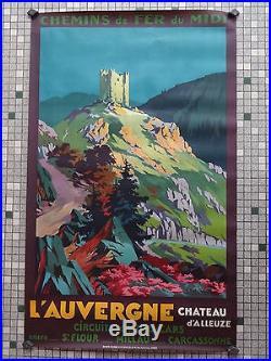 Affiche Ancienne Originale Chemin de Fer du Midi CHATEAU d'ALLEUZE Sig Champseix