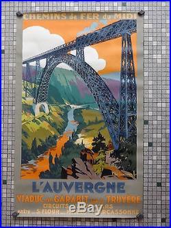 Affiche Ancienne Originale Chemin de Fer du Midi VIADUC de GARABIT Sig Champseix