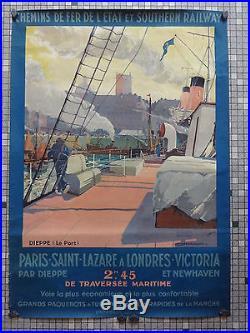 Affiche Ancienne Originale Chemins Fer De l'Etat Southern Railway Sig G Marchand