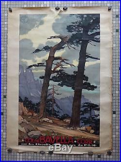 Affiche Ancienne Originale Chemins Fer PLM COL de BAVELLA CORSE Sig Cossard 1928