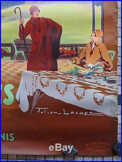 Affiche Ancienne Originale Chemins de Fer du Midi SUPERBAGNERES Signee J. Lacaze