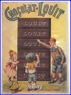 affiche ancienne originale chocolat louit bordeaux enfants ecoliers lecture. Black Bedroom Furniture Sets. Home Design Ideas