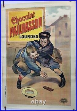 Affiche Ancienne Originale Chocolat Pailhasson Publicitaire Lourdes Pyrénées