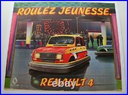 Affiche Ancienne Originale Concession Renault 4 4l Roulez Jeunesse Tamponneuse