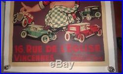Affiche Ancienne Originale Entoilée Auto Ecole Jouet Citroen Renault 80cmx120cm