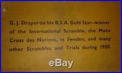 Affiche Ancienne Originale Entoilée Bsa Gold Star Gj Draper Sweden 1950 Motorcyc