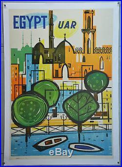 Affiche Ancienne Originale, Entoilée, Egypt U A R, Signée Assim