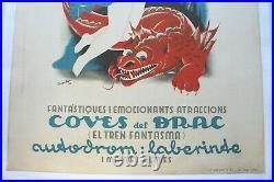 Affiche Ancienne Originale Espagnole Autopark Atraccions Barcelona Texidor 1936