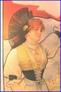 Affiche Ancienne Originale Exposition Universelle Paris 1900 Village Suisse Sim