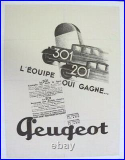 Affiche Ancienne Originale Garage Concession Peugeot 301 201 1932-1936