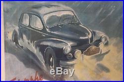 Affiche Ancienne Originale Geo Ham Renault 4cv Rallye Monte Carlo 1949 L. Rosier