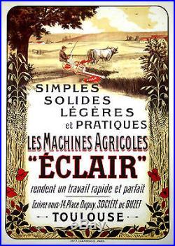 Affiche Ancienne Originale Les Machines Agricoles Eclair 1930
