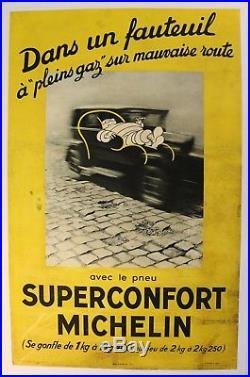 Affiche Ancienne Originale Michelin Superconfort 1932 Bib Bibendum Pneu Citroen