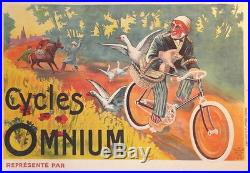 Affiche Ancienne Originale Old Poster Cycles Omnium Valence Ane Oie Agriculture